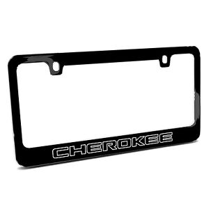 Jeep Cherokee Outline Black Metal License Plate Frame Made In Usa