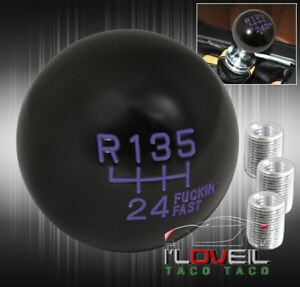 Universal Black Purple 6 Speed Solid Short Throw Fast Ball Type Style Shift Knob