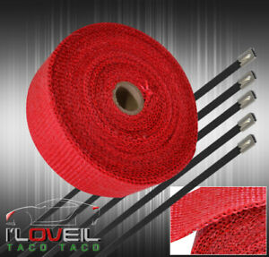 360 30ft Heat Wrap Shield Insulation Reduction Down Header Test Pipe Set Red