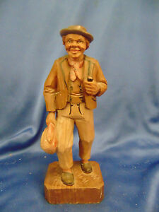 Hobo Traveling Man Hand Carved Light Color Wood Primitive Anri Style Painted Art