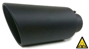Exhaust Diesel Tip 4 Inlet 8 Outlet 18 Long High Temperature Coated Black