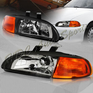 For 1992 1995 Honda Civic 4 Dr Black Housing 1 Piece Headlight W Amber Reflector