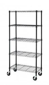 5 Shelf Black Steel Wire Shelving 30 By 14 By 60 inch Storage Rack All Color