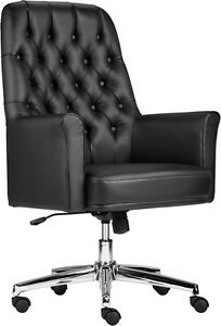Lot Of 8 Conference Table Mid Back Tufted Black Leather Chair