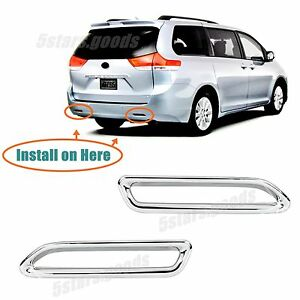 Accessories Chrome Rear Fog Indicator Light Trims For 2011 2018 Toyota Sienna
