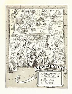 1950s Antique New Mexico State Map Mining Animals Native Americans Bw 3843