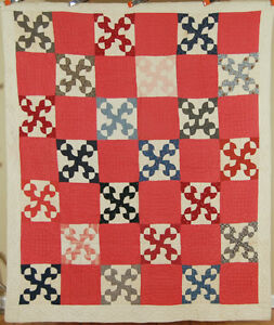 Nicely Quilted Vintage 1890 S Drunkard S Path Antique Quilt Vibrant Fabrics