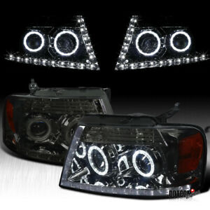 For 2004 2008 Ford F150 F 150 Pickup Smoke Lens Led Halo Headlights Head Lamps