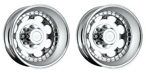 Pair 2 19 5 Vision 181 Hauler Duallie Chrome Rims 19 5x6 75 8x6 5 143mm 8 Lug