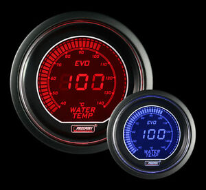 Evo Series Metric Water Temperature Gauge Electric 52mm 2 1 16 Red And Blue