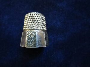 Vintage Sterling Silver Thimble 7 Anchor Mark Flowers 10 Panels