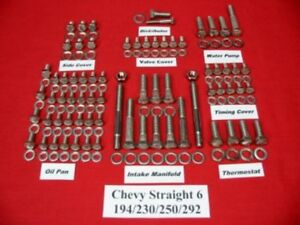 Chevy 194 230 250 292 Straight 6 Cylinder Stainless Steel Engine Hex Bolt Kit