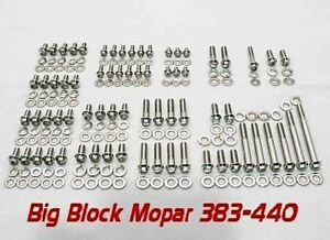 Mopar Engine Bolts Kit Big Block 383 400 413 440 Polished Stainless Arp Grade 8