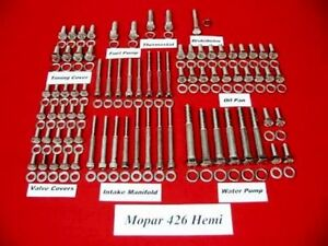 Mopar 426 Hemi Street Hemi Stainless Steel Engine Hex Bolt Kit