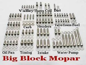 Big Block Mopar 383 400 413 426 Wedge 440 Stainless Steel Engine Allen Bolt Kit