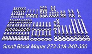 Mopar Engine Bolts Kit Small Block 273 318 340 360 Stainless Steel Hex Set