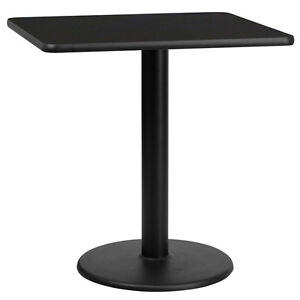 Lot Of 8 30 Square Black Laminate Tables With 18 Round Table Height Bases