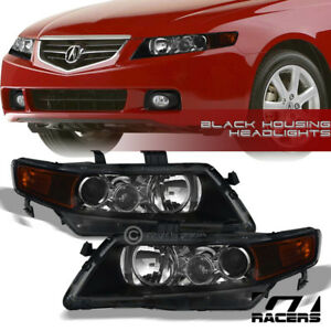 For 2004 2008 Acura Tsx Cl9 Black Projector Head Lights Corner Signal Lamp Amber