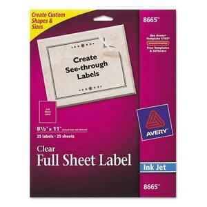 Avery 8665 Full sheet Inkjet Labels 8 1 2 X 11 Clear 25 pack