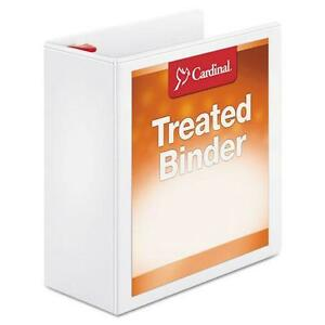 Cardinal 32140 Treated Clearvue Locking Slant d Ring Binder 4 Capacity White