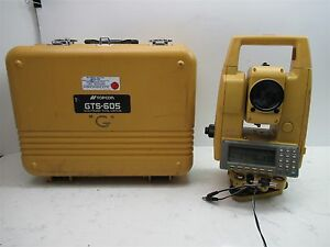 Topcon Gts 605 Total Station Surveying Unit W Case Battery