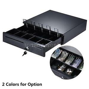 Auto Manual Open Cash Drawer Pos Money Register Case W 5 Bill 5 Coin Trays B8v3