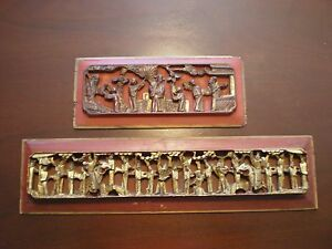 Antique Chinese Temple Carvings Red And Gilt Wood Mid 19th Century Set Of 2