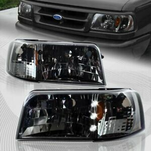For 1993 1997 Ford Ranger Smoke Lens Led 1 piece Head Lights W amber Reflector
