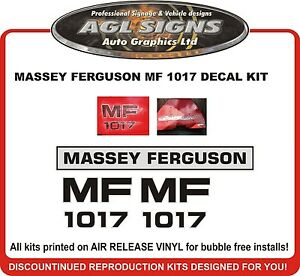 Massey Ferguson 1017 Backhoe Decal Set Reproduction Mf 1017