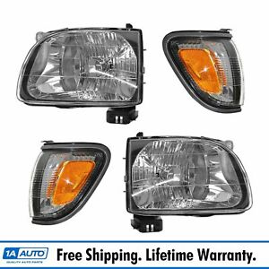 Headlight Parking Light Lamp Lh Rh 4 Piece Kit Gray For 01 04 Tacoma Truck New