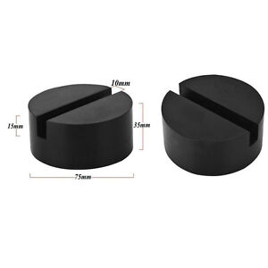 2pcs Slotted Frame Rail Ton Floor Rubber Racing Disk Jack Stand Lift Pad Adapter