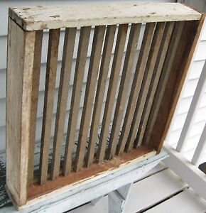 Wooden Slotted Herb Drying Rack Utilitarian 4 Sided W White Paint On 3 Sides