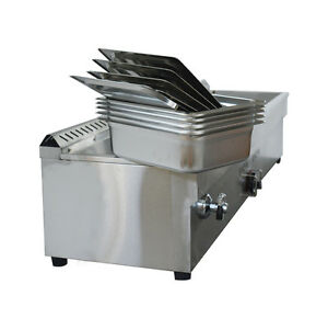 5 pan Natural Gas Bain marie Buffet Food Warmer Steam Table Stainless Steel