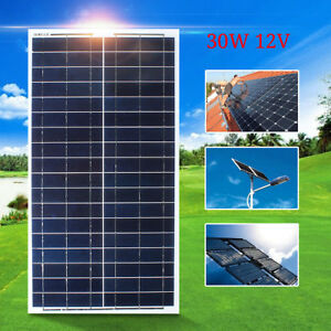 30w Watt 12v Solar Panel Kit Battery Charger Off Grid 5m Wire For Rv Boat Home