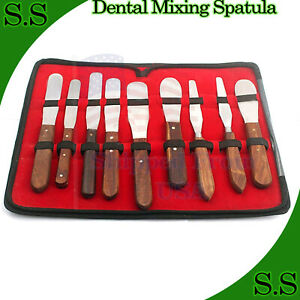 New Premium Grade Set Of 9 Pieces Dental Mixing Spatula Plastic Alignate Mixing