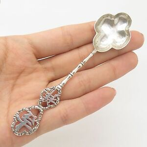 Antq Asia 925 Sterling Silver Bamboo Design Hieroglyph Unusual Spoon
