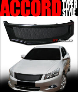 For 2008 2010 Accord 4 Door Glossy Black Aluminum Mesh Front Bumper Grille Guard