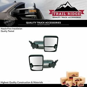 Trail Ridge Tow Mirror Manual Smoke Signal Led Spotlight Black Pair For Gm Truck