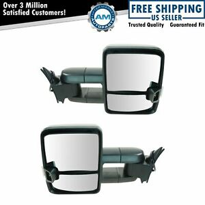 Tow Mirror Manual Smoke Signal Led Spotlight Black Pair Set For Gm Truck New