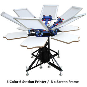 6 Color Screen Printing Press Printer Machine Equipment 6 Station Diy T shirt
