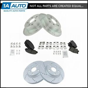 Nakamoto Front Rear Ceramic Brake Pad Performance Drilled Slotted Coated Rotor