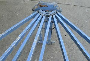Antique 8 Spindle Wooden Wall Mount Drying Rack W Old Blue Chippy Paint