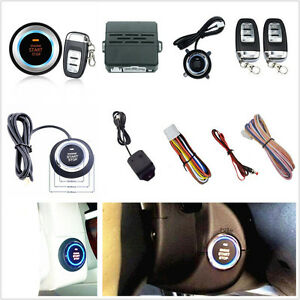 D7 Car Alarm System Security Vibration Ignition Engine Start Push Button Remote