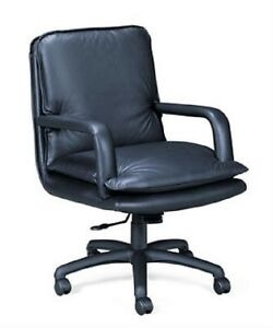 Paoli New Pillow Soft Leather Mid back Conference Executive Chairs Black Leather