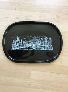 Japanese Old Vintage Lacquer Ware Tray Lds Temple Square Salt Lake City Painting
