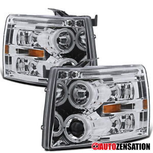 For 2007 2014 Chevy Silverado Clear Lens Halo Rims Projector Headlights Lamps