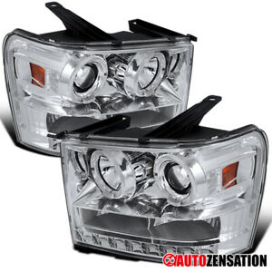 07 13 Gmc Sierra 1500 2500 Hd Denali Chrome Halo Led Projector Headlights