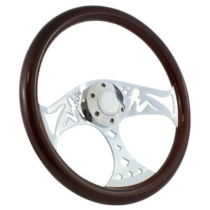 15 Chrome Trucker Mudflap Girl Wood Steering Wheel And Horn Button Set