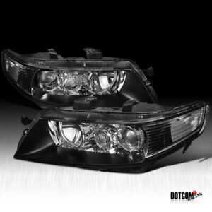 2004 2005 Acura Tsx Black Housing Clear Lens Projector Headlights Lamps Pair