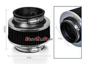 Black 76mm 3 Inch Universal Cold Air Intake Hydrolock Bypass Valve Air Filter